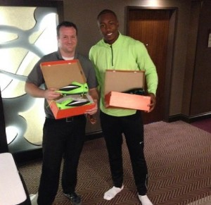 Brandon Marshall shared a photo of his lime-green cleats for this evening's game against the NY Giants.