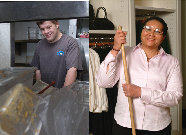 two photos of clients at work. one is doing dishes, one is holding a broom